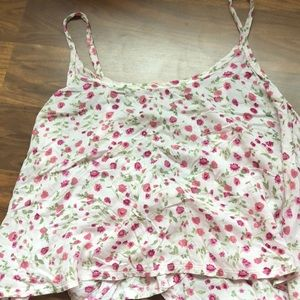 Abercrombie light pink crop top with flowers